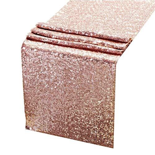 Nappe 30 * 180cm Paillettes Table Runner Haute Densité Table Cloth Table Cover for la décoration de fête de mariage (or rose)
