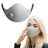 AJL Inteligente eléctrica de Iones Negativos del Aire Protector Facial Blanca del Polvo Anti Transpirable respirador Reutilizable Lavable Filtro de carbón Activado, Anti-contaminación Facial Escudo