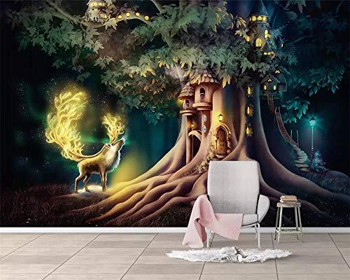 Behang, aanpassen van 3D-behang Fantasy Forest Tree Elk dier serie muur decoratie kunst Hd-Print Poster afbeelding grote zijde muurschilderijen voor kinderkamer kinderdagverblijf speling ruimte ingetrapt 300cm(H)×500cm(W) zoals getoond