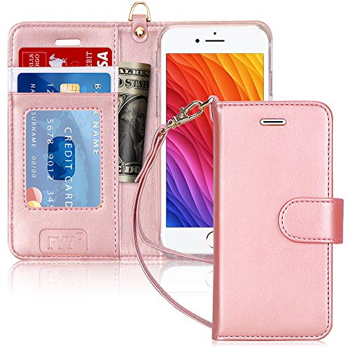 "FYY Case for iPhone 6S / iPhone 6 (4.7""), [Kickstand Feature] Luxury PU Leather Wallet Case Flip Folio Cover with [Card Slots] [Wrist Strap] for iPhone 6S (4.7"")(2015) /iPhone 6 (4.7"")(2014) Rose Gold"