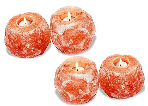 DIECH - Vela de sal del Himalaya con forma de roca de cristal   Soporte para vela de té mineral natural naranja   Decoración de mesa naranja   Lámpara de noche brillante y atractiva, 4 Pcs