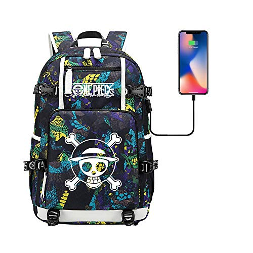 Anime One Piece Cosplay Chopper Ruffy Rucksack Daypack Bookbag Laptop Schultasche mit USB-Ladeanschluss