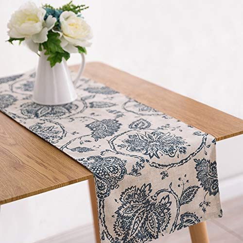 Table Runner Linen Textured 13 x 72 inch Scroll Patten Triangular Decorative Burlap Tablecovers Rustic Floral Design Handcrafted Flax Tablecloths, Teal
