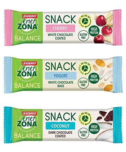 EnerZona Snack Balance Variety Pack ● 30 Barritas de 25 g/33 g ● 10 Coco + 10 Amarena + 10 Yogurt