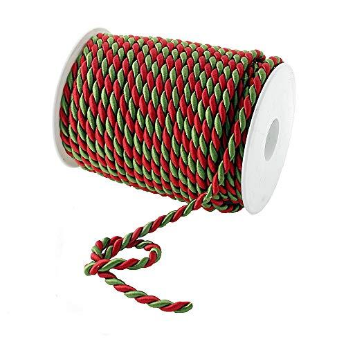 TGG Cordón trenzado de 2 colores, rojo y verde, sin alambre, 2-4-6 mm, bobina profesional (6 mm/25 metros)