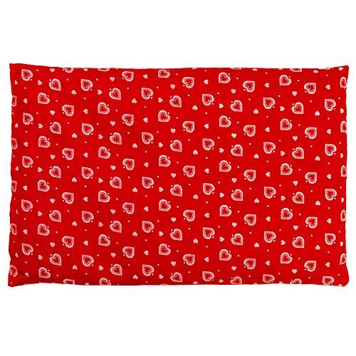 Dinkelkissen 30 x 20 cm, Herzen-rot - Als Wärmekissen & Kältekissen - Körnerkissen für Mikrowelle und Backofen