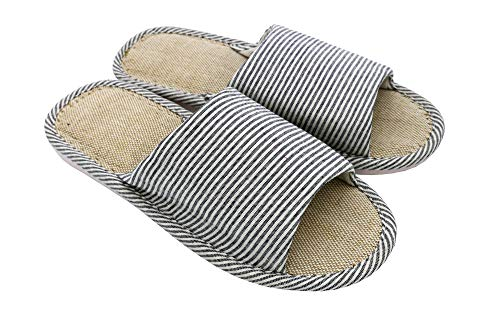 AioTio Frauen und Männer Cotton Flachs Casual weiches Licht offene Zehe Hausschuhe Bequeme und atmungsaktive Hausschuhe Anti-Rutsch für Indoor und Outdoor(44/45 EU,Marine)