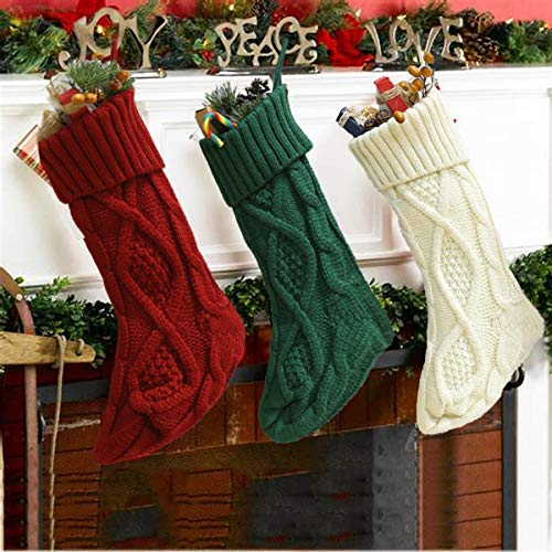 Weihnachtsstrumpf Weihnachtsdeko Weihnachten Geschenktasche Weihnachten Strumpf Geschenk Christmas Stockings Hängende Strümpfe Weihnachtsstrümpfe Gestrickte Xmas Socken (Weihnachsstrumpf, 46cm)