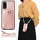 Jaorty PU Leather Wallet Case for Samsung Galaxy S20 Plus Necklace Crossbody Lanyard Case Cover with Card Holder Adjustable Detachable Anti-Lost Neck Strap Case for Samsung Galaxy S20 Plus,6.7',Pink