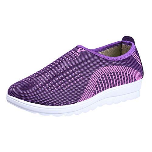 Yvelands Loafers weichen Schuhen Flache Damen Mesh Hose mit bequemen Walk Strip Sneakers(Lila(Damen),39)