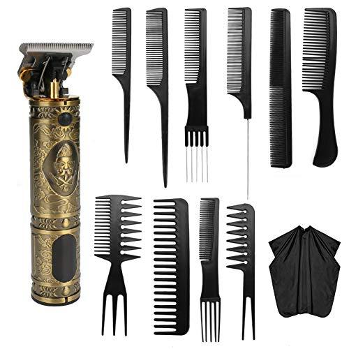 KKUYT Cortapelos inalámbricos para hombres, juego de corte de pelo profesional para barberos, kit de peluquería con hoja en T, kit de corte de pelo recargable con 10 peines y 1 capa para hombres, mujeres, niños, salón de casa