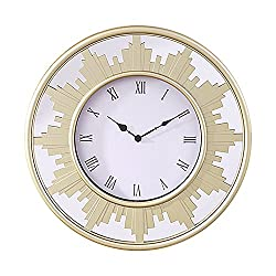 Jerry & Maggie - Large 22 Multi Function Wall Clock with Frame Mirror Background   Tower Shape Sculpture Frame Home Decor with Battery Compartment and Wall Mounting Design - Champagne Color