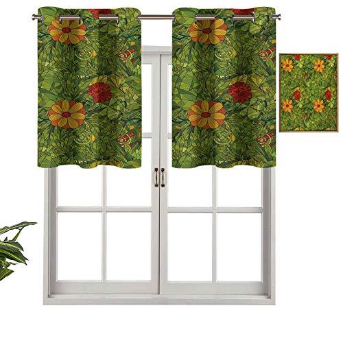 Hiiiman Cortinas cortas con cenefa de protección de privacidad, diseño de flores con flores fractal retro selva, juego de 2, cortinas de ventana de 42 x 24 pulgadas para baño, cocina, sala de estar