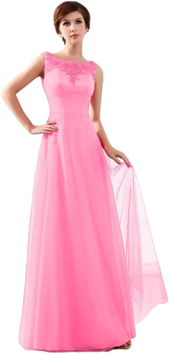 BeautyEmily Women's lace Sleeveless Wedding Bridal Evening Gowns color Pink,Size 26W