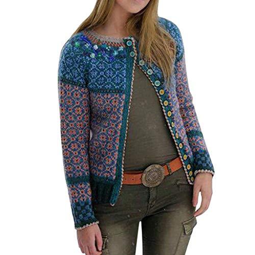 GOKOMO Vintage Strick Mantel Winter Frauen Mehrfarbendruck knöpft Spitze Wolljacke Langen Hülsen Langen Mantel(Blau,X-Large)
