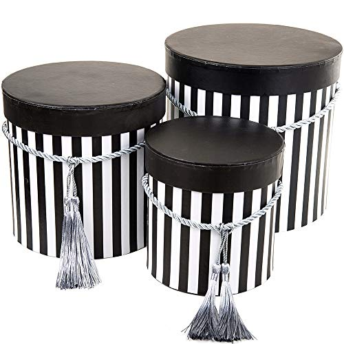 Juego de 3 cajas de almacenamiento redondas con tapa, con cordón y borla, caja decorativa con rayas, caja redonda para flores (negro/blanco)