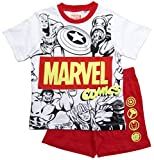 Avengers Schlafanzug Jungen Marvel Shorty Pyjama (Weiß-Rot; 128)