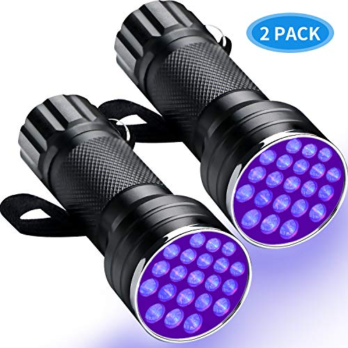 RENOOK 21 LEDs Mini UV Black Light Flashlight - 395nm Detector for Dog Pet Urine Stains Bed Bugs and Scorpions, Authenticate Currency, Detection of Fluorescent Agent for Mother, Camping Must, 2 Pack