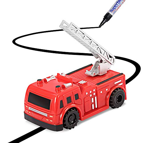 YoCosii Magic Inductive Truck Toy With Magic Pen Follows Drawn Lines Learning and Educational for Kids & Children Toddler Toys (Red Firetruck)