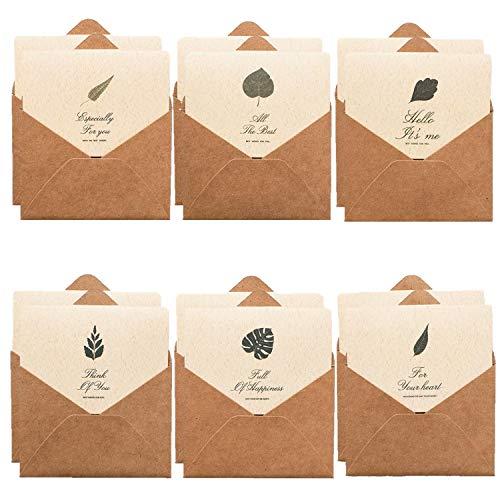 XPdesign メッセージカード シンプル デザイン ナチュラルリーフ クラフト紙 グリーティング カード 名刺サイズ 封筒付き (リーフ6種12個)
