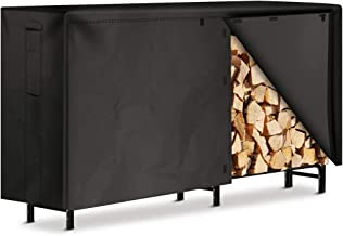 Amagabeli 8ft Firewood Rack with Waterproof Cover Combo Set Outdoor Log Holder for Fireplace Heavy Duty Wood Stacker for P...