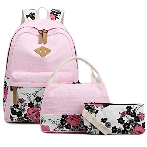 Abshoo Lightweight Canvas Floral Backpacks for Teen Girls School Backpack with Lunch Bag (DG20 Pink)