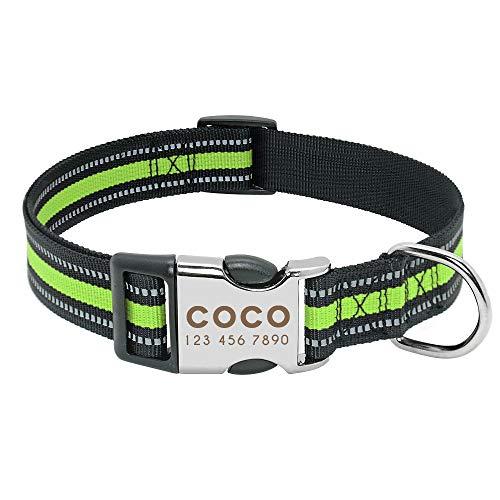 collar perro pequeño Collar de perro Cuello Personalizado PET grabado ID de etiqueta Placa de identificación reflexiva para pequeños perros grandes PITBULL PUG ( Color : 014 Green , Size : S )