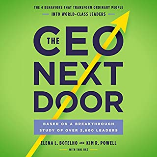 The CEO Next Door     The 4 Behaviors that Transform Ordinary People into World-Class Leaders              By:                                                                                                                                 Tahl Raz,                                                                                        Kim R. Powell,                                                                                        Elena L. Botelho                               Narrated by:                                                                                                                                 Bernadette Dunne                      Length: 8 hrs and 50 mins     217 ratings     Overall 4.6