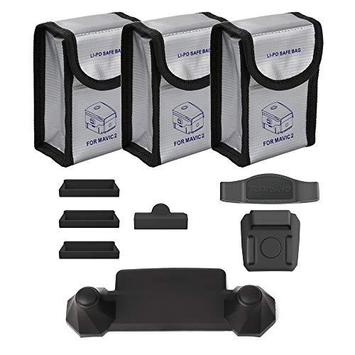 O\'woda Combo de Accesorios: Bolsas ignífugas de batería lipo + Protector de Puerto de Carga + Control Remoto Balancín Protector + Estabilizador de hélice para dji Mavic 2 Pro / Zoom