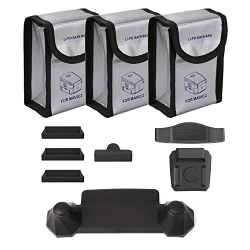O'woda Combo de Accesorios: Bolsas ignífugas de batería lipo + Protector de Puerto de Carga + Control Remoto Balancín Protector + Estabilizador de hélice para dji Mavic 2 Pro / Zoom