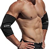 Mava Sports Elbow Compression Sleeve Support for Weightlifting, Pain Recovery, Tendonitis, Gym Workouts and Arthritis - Made with Strong Elastic Fabric Material for Men and Women (Black, Large)