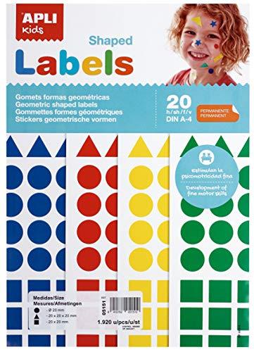 APLI Kids 5151-Bolsa A4 gomets 20 mm colores surtidos 20 hojas