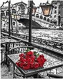 QIAOYUE Pintar por números para Rosa roja en la Mesa Flor niños y Adultos DIY Pintura Lienzo Lienzo Pintura Sala de Estar Dormitorio Estudio Decorativo (con Marco)