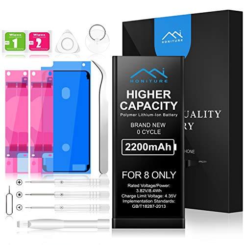 HONITURE iPhone 8 Akku 2200mAh, Ersatzakku für iPhone 8 mit hoher Kapazität inkl. Reparaturset, Werkzeugset und Akku-Austausch Anleitung, Polymer Lithium-ion Batterie
