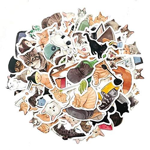 ZZHH 50 Uds Lindo Gato papelería Pintada a Mano Diario de Dibujos Animados decoración monopatín Casco Graffiti Pegatina Impermeable al por Mayor