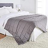 Amazon Basics - Manta de algodón con peso, para todas las estaciones, 9kg, 150cm x 200cm (doble), gris oscuro
