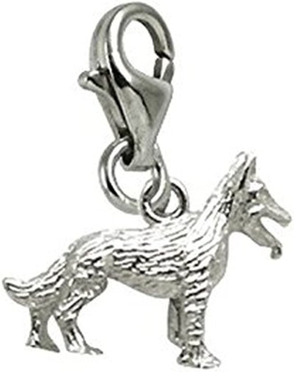 German Shepherd Charm with Lobster Claw Clasp, Charms for Bracelets and Necklaces