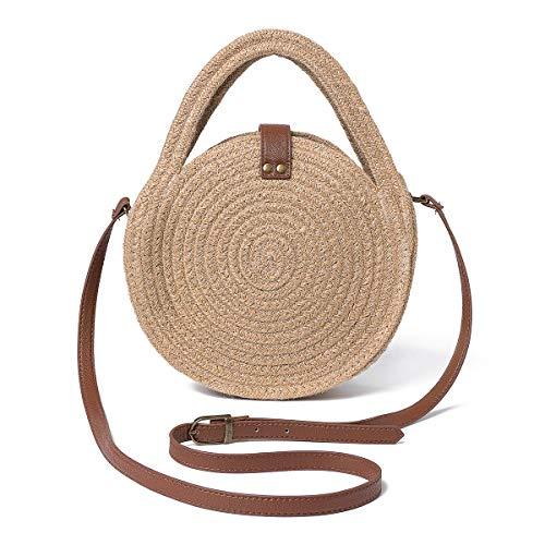 Kadell Damen Strandtasche aus Hanfseil mit Strohhalm, rund, Rattan-Tasche, (#2), Large