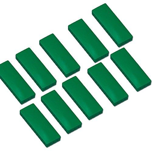 10x Faxland Magnete rechteckig, Grün 54x19 mm, Haftmagnete für Whiteboard, Kühlschrankmagnet, Magnettafel, Magnetwand, Magnet