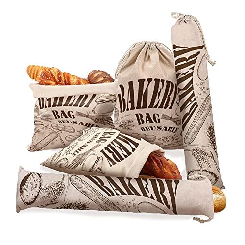 5 Bolsa De Pan para Guardar El Pan Bolso Baguette De Pan De Tela Bolsas De Tela Bonitas para Compra Verduras Y Frutas De Pan De Papa Almacenamiento Bolsa Tela, 2 Tamaños Diferentes