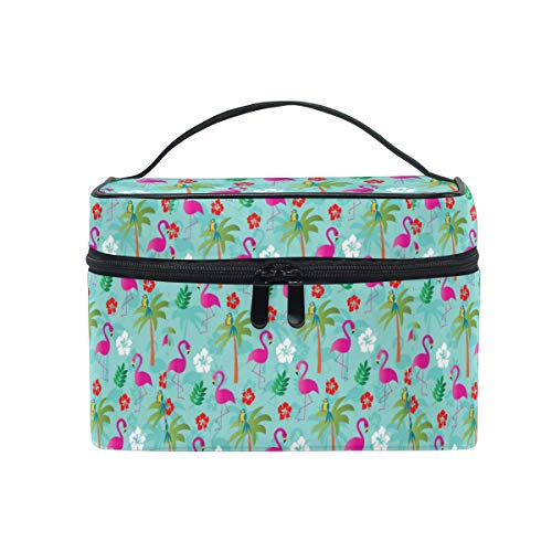 Emoya Kosmetiktasche Tropical Flamingo Palmblätter Hibiskus Blumen Kokos Reise Make-up Tasche Pinsel Tasche Kulturtasche für Frauen