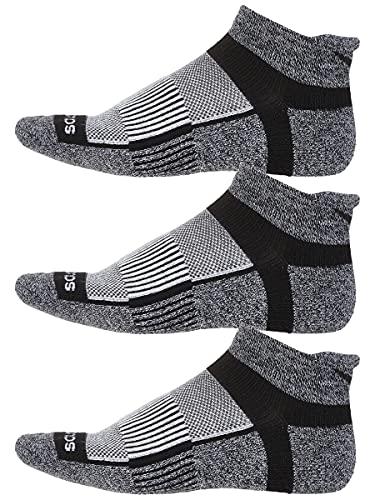 Saucony Inferno No Show Tab 3 Pack Running Socks Black/White/Marl Size Medium