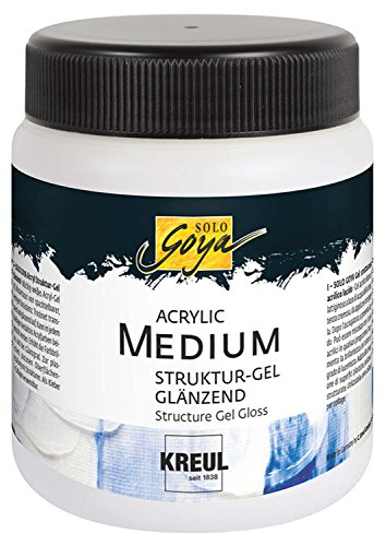 Kreul 87105 - Solo Goya Acrylic Medium, Strukturgel glänzend, cremige Spachtelmasse, trocknet transparent und glänzend, einfärbbar, 250 ml Dose