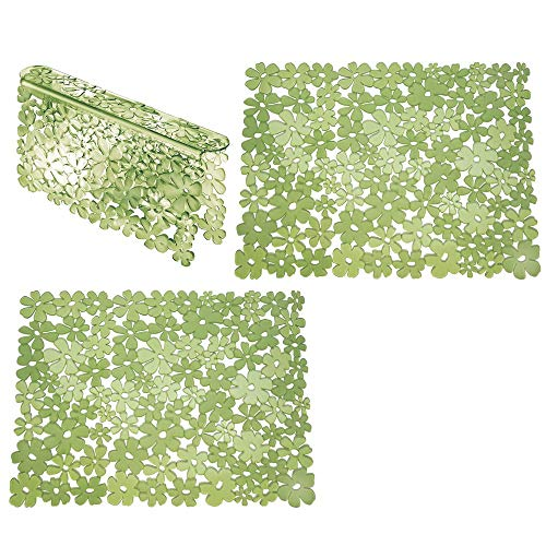 mDesign Set da 3 Tappetini per lavello cucina in plastica – Grande tappetino lavandino protettivo con design floreale – Accessori cucina per lavello a doppia vasca – verde