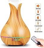 PEYOU 400ml Humidificador Aceites Esenciales, Difusor de Aromas con Control Remoto, Difusor de Aromaterapia Ultrasónico, 7-Color LED, 3-Ajuste de Tiempo Fijo, para Hogar, Oficina, Yoga