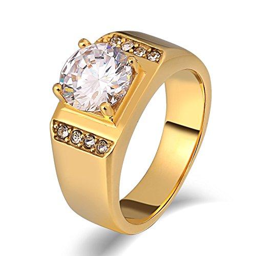 Adokiss Joyas - Anillo de acero para hombre, 4 garras redondas blancas con circonita cúbica, anillo vintage gótico, 0,8 cm de ancho, regalos de cumpleaños para hermano dorado