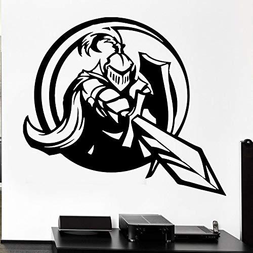 Pegatina de pared de caballero, espada, escudo, armadura, estilo Medieval, arma, vinilo, pegatina para ventana, dormitorio adolescente, dormitorio, sala de juegos, decoración del hogar