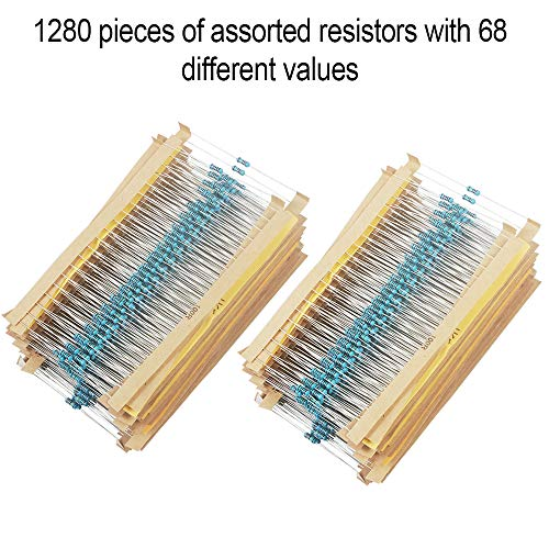 1280 Pieces 64 Values Resistor Kit, 1% Assorted Resistors 1 Ohm-10M Ohm 1/4W Metal Film Resistors Assortment with Storage Box for DIY Projects and Experiments