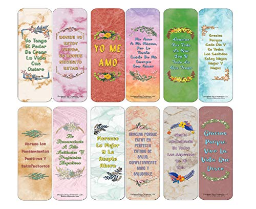 Creanoso Spanish Afirmaciones Positivas Bookmarks Cards Series 1 (30-Pack) - La Actitud Mental Positiva - Stocking Stuffers Party Favors & Giveaways for Teens & Adults