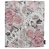 Mugod Pink Flowers Throw Blanket Retro Rose Floral Branch Leaves Pastel Color Gray Soft Cozy Fuzzy Warm Flannel Blankets Decorative for Bed Chair Couch Sofa 50x60 Inch